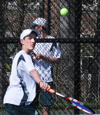 BRYAN EATON/Staff Photo. Connor Aulson in first singles.