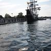 BRYAN EATON/Staff Photo. The El Galeon arrives at the Newburyport Waterfront.