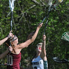 BRYAN EATON/Staff Photo. Newburyport's Margaret Cote and Pentucket's Grace Dore in play at Pipestave Hill.