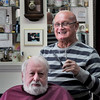 BRYAN EATON/Staff Photo. Newburyport barber Harold Boothroyd jokes with longtime customer Robert Littlefield. Boothroyd is celebrating 50 years of his Razor's Edge shop which has been at the same location on Merrimac Street for all 50 years