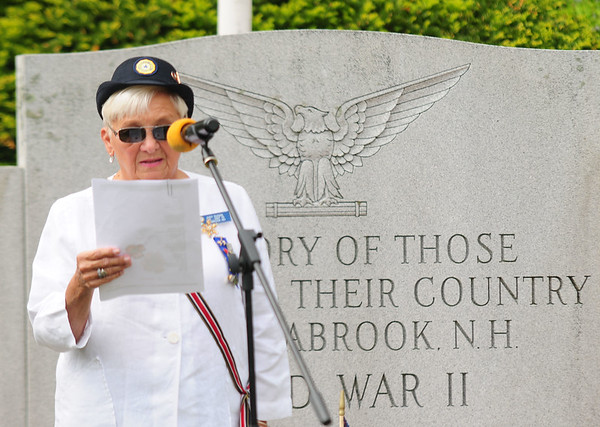 "JIM VAIKNORAS/Staff photo Judy Dugan of Seabrook reads the poem ""In Flanders Fields"" at the Memorial day Service at Seabrook Square Sunday morning."