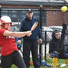 BRYAN EATON/Staff photo. Amesbury's Kaylie Cloutier hits a single.