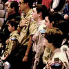 JIM VAIKNORAS/Staff photo Members of Amesbury Boy Scout troop 4 reciet the Pledge of Allegience during the Amesbury Memorial Day ceremony at Amesbury High School Monday. The event was moved inside due to the rain.