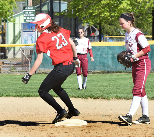 BRYAN EATON/Staff photo. Amesbury's Allison Napoli steals second base.