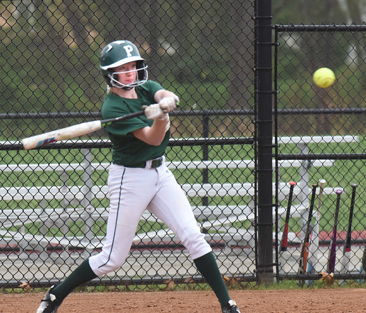 BRYAN EATON/Staff photo. Pentucket's Autumn West hits a single.