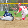 JIM VAIKNORAS/staff photo Amesbury's Graham Gannit  looks up at the umpire as Triton's Thomas Lapham is safe stealing 2nd during their game at Amesbury Saturday morning.