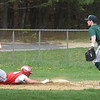 BRYAN EATON/Staff photo. Pentucket first baseman Liam O'Neil waits for a throw as Amesbury's Scott Franco slides back to base from second after a pop ball was caught, Franco not tagging up.