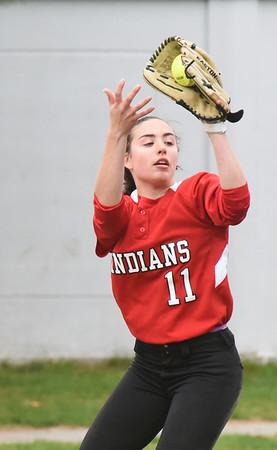 BRYAN EATON/Staff photo. Amesbury outfielder Emma DiPietro catches a popup.