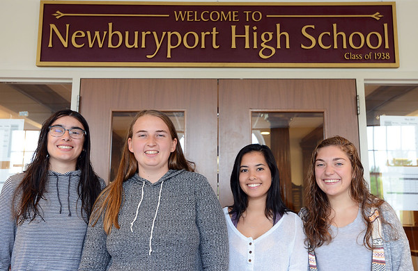 RYAN HUTTON/ Staff photo<br /> From left, Newburyport High seniors Quinn Campbell, 17, Kaitlin Clarke, 18, Charlotte Graf, 18, and Julia DiBiase, 18 are planning a safe and fun prom.