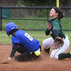 BRYAN EATON/Staff photo. Georgetown's Hayward steals second as Pentucket shortstop Kim Kowalick reaches for the ball.
