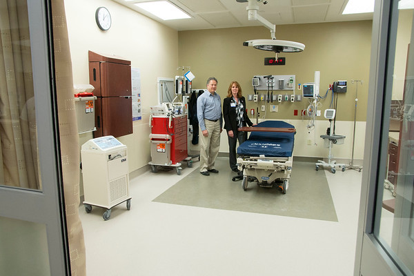 JIM VAIKNORAS/staff photo Directors Dr. David Heller and Melissa Voisine pose in the Resuscitation Room at the Seabrook Emergency Room on Lafayette Road in Seabrook.