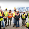 BRYAN EATON/Staff photo. Amesbury firefighter Jeremy Bean and others in the department talked safety to workers on the Whittier Bridge Project.