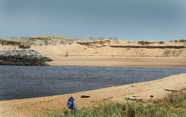 BRYAN EATON/Staff photo. Some of the sand dunes to the southwest of the south jetty on Plum Island have collapsed.