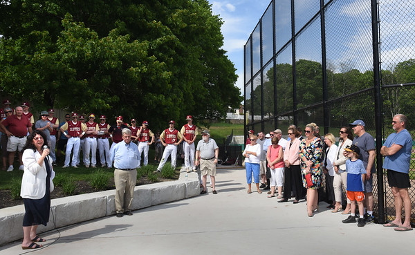 BRYAN EATON/Staff photo. Mayor Donna Holaday introduces Richie Eaton at the dedication of the baseball field named after him.