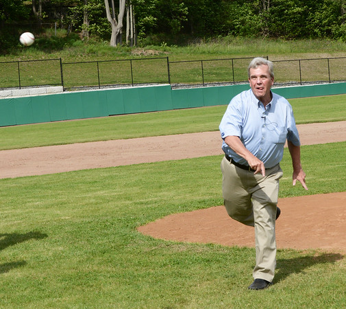 BRYAN EATON/Staff photo. Eaton throws out the first pitch at the Newburyport baseball game who was hosting Lynnfield.