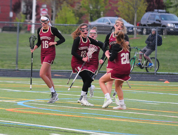 JIM VAIKNORAS/staff photo Newburyport players celebrate their first half goal against Ipswich during their game at Ipswich Thursday.