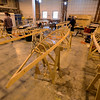 RYAN HUTTON/ Staff photo<br /> The frames of several wooden kayaks sit in various stages of completion at a kayak building workshop hosted at CI Works in Amesbury.