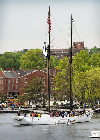 BRYAN EATON/Staff photo. The Alabama docks at the Newburyport waterfront in a view from the roof of The Deck.