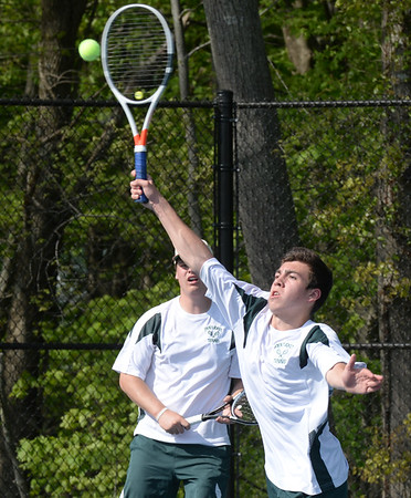 BRYAN EATON/Staff photo. Pentucket first doubles' Nick Piotrowski, right, and Max Jackson.