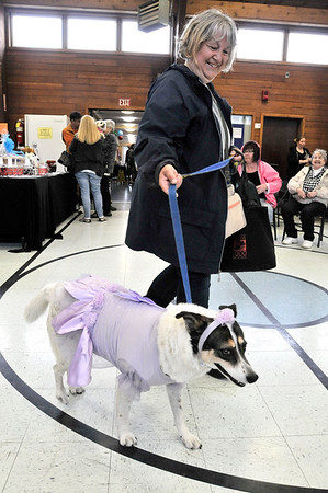 """TIM JEAN/Staff photo<br /> <br /> Bonnie Knight of Newburyport, walks her rescue dog """"Nadine"""" dressed in her fairy costume during the Fido Fair at the Salvation Army in Newburyport.   5/12/18"""