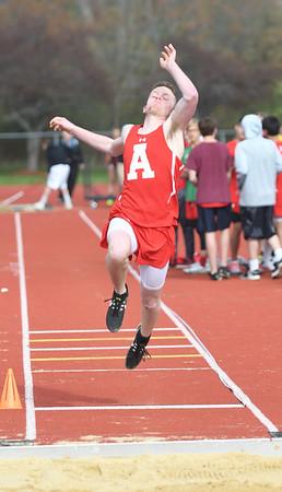 JIM VAIKNORAS/Staff photo Amesbury's Noah Lynch in the long jump at the Pentucket, Amesbury, Newburyport meet at Fuller Field Wednesday.