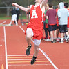 JIM VAIKNORAS/Staff photo Amesbury's Noah Lynch in the long jump at the Pentucket, Amesbury, Newburyport meet at Fuller Field Wednesday.