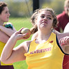JIM VAIKNORAS/Staff photo Newburyport's Annastasia Hansen with the shot put at the Pentucket, Amesbury, Newburyport meet at Fuller Field Wednesday.
