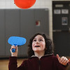 "BRYAN EATON/Staff photo. River Wynne, 10, and others in his class play ping pong with a balloon in Linda Gangemi's physical education class at Salisbury Elementary School. They were at different ""striking stations"" working on different games like tennis, volleyball and ping pong to work on eye to hand coordination."