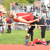 JIM VAIKNORAS/Staff photo Amesbury's Madison McGrath in the high jump at the Cape Ann League Track and Field championships at Mascomonet in Boxford Saturday.