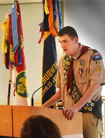 BRYAN EATON/Staff photo. Eagle Scout Sam Spinney was the featured speaker at Mayor Donna Holaday's Breakfast for Scouting which honored four distinguished citizens.