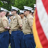 JIM VAIKNORAS/Staff photo Members of the Marine Corp Jr ROTC stand at attention at the Memorial Day Service at Seabrook town hall Sunday morning.
