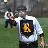 JIM VAIKNORAS/Staff photo Jimmy Champy the Portsmouth Rockinghams pitches against Lynn Live Oaks at the Spencer-Peirce-Little farm in Newbury Saturday.