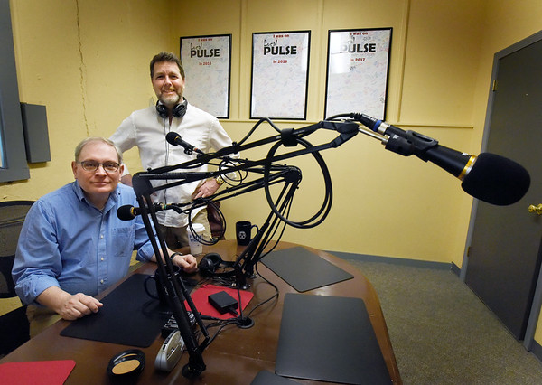 BRYAN EATON/Staff photo. The Pulse's Joe DIBiase, left, and producer Gregg Ogden are doing podcasts from the Daily News office.