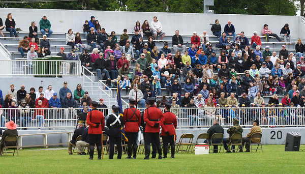 BRYAN EATON/Staff photo. There was a large turnout at Landry Memorial Stadium in Amesbury for Memorial Day services.