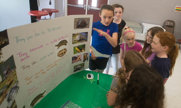 JIM VAIKNORAS/Staff photo Melani Dowling, 11, and Elizabeth McIntyre, 11 of Girl Scout Troop 78013 give a presentation on Blanding Turtles at the Bagnall School in Groveland. Older scout working on their Bronze Award were working with younger scouts teaching them about turtles through crafts.
