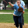 JIM VAIKNORAS/Staff photo Triton's Bridget Sheehan throws out a runner at Perry Field in Amesbury Friday.