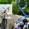 JIM VAIKNORAS/Staff photo Developer David Hall speaks at  the ground breaking of Hillside Center for Sustainable Living in Newburyport Friday.