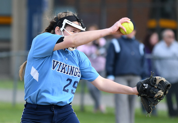 JIM VAIKNORAS/Staff photo Triton's Katherine Quigley pitches against Newburyport at Triton Wednesday.