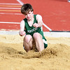 JIM VAIKNORAS/Staff photo Pentucket's Ryan Smith in the long jump at the Pentucket, Amesbury, Newburyport meet at Fuller Field Wednesday.