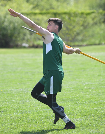 JIM VAIKNORAS/Staff photo Pentucket's Matt Maloney throws the javelin in the Cape Ann League Track and Field championships at Mascomonet in Boxford Saturday.