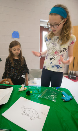 JIM VAIKNORAS/Staff photo Delaney Meager, 11, helps Emma Breines, 9, with a turtle craft during a program about Blandings Turtles at the Bagnall School in Groveland. Older girls working on their Bronze Award were working with younger girls teaching them about turtles through crafts.