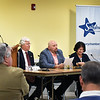 BRYAN EATON/Staff photo. The Salisbury Chamber of Commerce hosted a forum for selectmen candidates at the Hilton Senior Center on Tuesday afternoon. From left, town moderator Jerry Klima who was emcee, and candidates Chuck Takesian, Gilber Medeiros and Donna Abdulla.