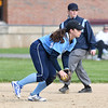 JIM VAIKNORAS/Staff photo Triton's Emily Karvielis field a groundball against Newburyport at Triton Wednesday.