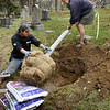 BRYAN EATON/Staff photo. Cody Paquette of Wolf Hill Garden Center helps Ghlee Woodworth of Oak Hill Cemetery in Newburyport unload one of six trees that were planted there. $2,000 was raised from a Run Thru History with donations coming from Joppa Flats Running Club, Newburyport Lions Club and the Museum of Old Newbury for the four red maples, one sugar maple and one American Elm.