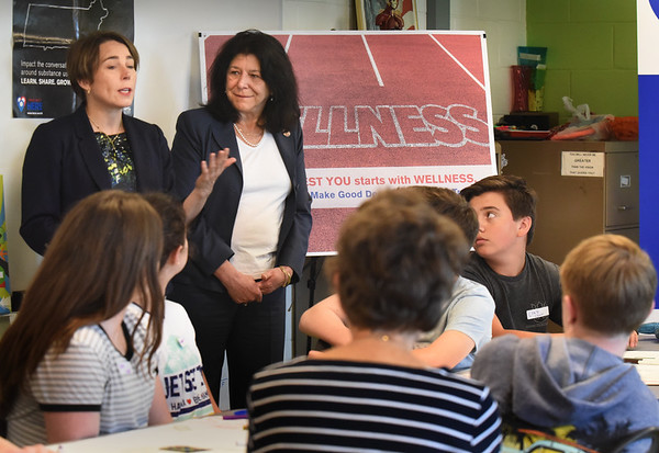 BRYAN EATON/Staff photo. Attorney General Maura Healey, left, Mayor Donna Holaday and other school officials discussed substance prevention tactics and opioids at the Nock Middle School.