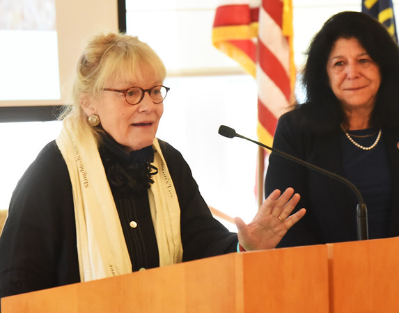 BRYAN EATON/Staff photo. Award recipient Vicki Hendrickson addresses those in attendance.