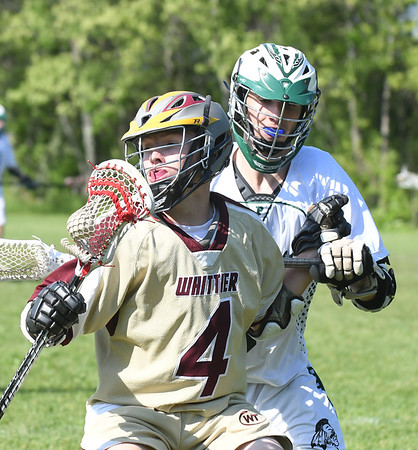 JIM VAIKNORAS/Staff photo  Whittier's Luke Iamele against Pentucket during their game at Pipestave Hill in West Newbury Wednesday .