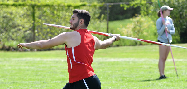 JIM VAIKNORAS/Staff photo Mascomonet's Matthew Qirici throws the javelin in the Cape Ann League Track and Field championships at Mascomonet in Boxford Saturday.