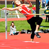 JIM VAIKNORAS/Staff photo Amesbury's Brook Taylor in the high jump at the Cape Ann League Track and Field championships at Mascomonet in Boxford Saturday.