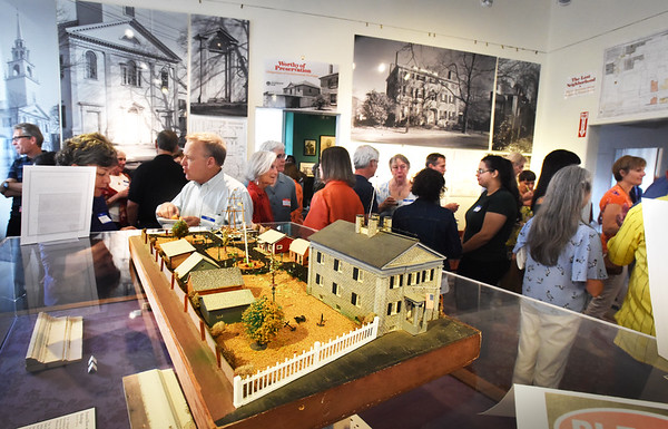 "BRYAN EATON/Staff photo. A reception was held Sunday afternoon capping the end of Preservation Week, by the Newburyport Preservation Trust, at the Custom House Maritime Museum, a model of which is in the foreground. The keynote presentation, ""Bartlett Mall: History, Significance and Preservation"" was held Saturday at the Newburyport Superior Courthouse."